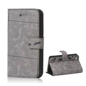 World Map iPhone 4 4S Flip Leather Wallet Case Cover - Grey