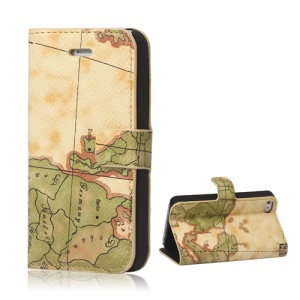 World Map iPhone 4 4S Flip Leather Wallet Case Cover - Yellow