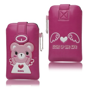 Cute Bear Leather Pouch with Chain for iPhone 5 4S 4 iPod Touch HTC One V