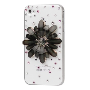 Black Flower Bling Diamond Hard Case for iPhone 4 4S - White