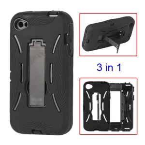 Snap-on Defender Stand Case for iPhone 4 4S - Black
