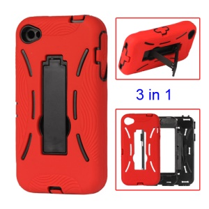 Snap-on Defender Stand Case for iPhone 4 4S - Red