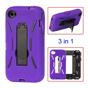 Snap-on Defender Stand Case for iPhone 4 4S - Purple