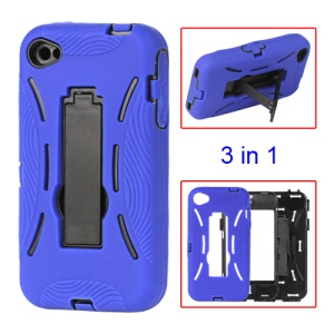 Snap-on Defender Stand Case for iPhone 4 4S - Blue