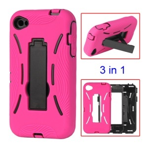 Snap-on Defender Stand Case for iPhone 4 4S - Rose