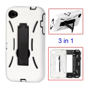Snap-on Defender Stand Case for iPhone 4 4S - White