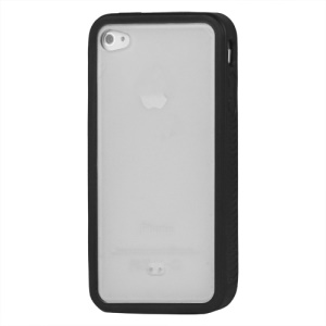 Stylish TPU & Plastic Hybrid Case for iPhone 4 4S - Black / Transparent