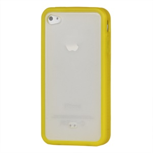 Stylish TPU & Plastic Hybrid Case for iPhone 4 4S - Yellow / Transparent
