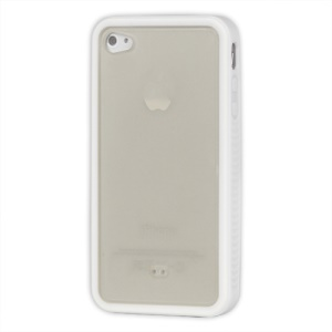 Stylish TPU &amp; Plastic Hybrid Case for iPhone 4 4S - White / Transparent