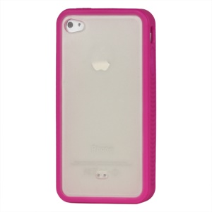 Stylish TPU & Plastic Hybrid Case for iPhone 4 4S - Rose / Transparent