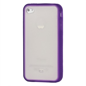 Stylish TPU &amp; Plastic Hybrid Case for iPhone 4 4S - Purple / Transparent