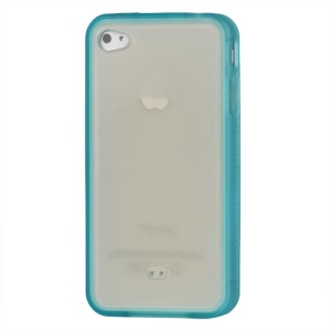 Stylish TPU &amp; Plastic Hybrid Case for iPhone 4 4S - Baby Blue / Transparent