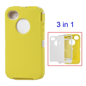 Snap-on Defender Case Cover for iPhone 4 4S - White / Yellow