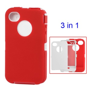 Snap-on Defender Case Cover for iPhone 4 4S - White / Red