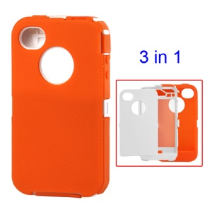 Snap-on Defender Case Cover for iPhone 4 4S - White / Orange
