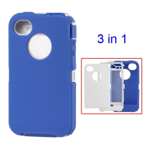 Snap-on Defender Case Cover for iPhone 4 4S - White / Blue