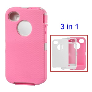 Snap-on Defender Case Cover for iPhone 4 4S - White / Pink