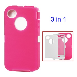 Snap-on Defender Case Cover for iPhone 4 4S - White / Rose