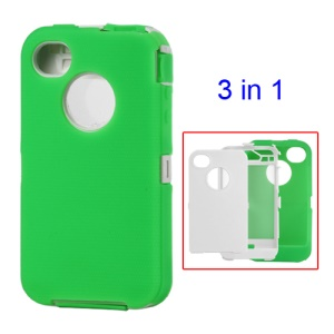 Snap-on Defender Case Cover for iPhone 4 4S - White / Green