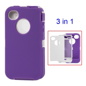 Snap-on Defender Case Cover for iPhone 4 4S - White / Purple