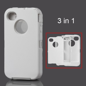 Snap-on Defender Case Cover for iPhone 4 4S - White