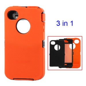 Detachable Defender Case for iPhone 4 4S - Black / Orange
