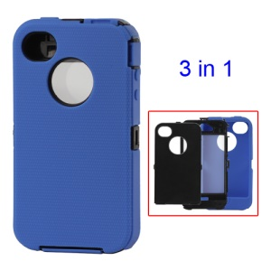 Detachable Defender Case for iPhone 4 4S - Black / Blue