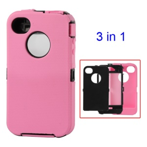 Detachable Defender Case for iPhone 4 4S - Black / Pink