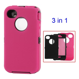 Detachable Defender Case for iPhone 4 4S - Black / Rose