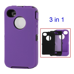 Detachable Defender Case for iPhone 4 4S - Black / Purple