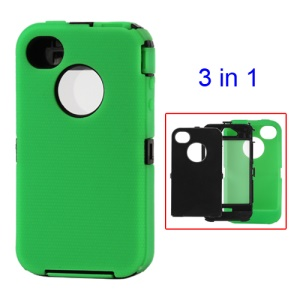 Detachable Defender Case for iPhone 4 4S - Black / Green