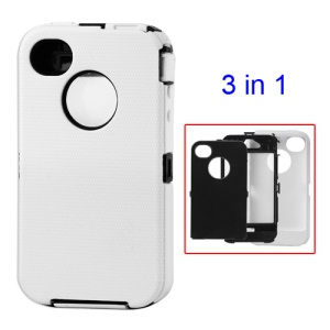 Detachable Defender Case for iPhone 4 4S - Black / White
