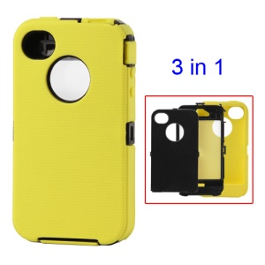 Detachable Defender Case for iPhone 4 4S - Black / Yellow