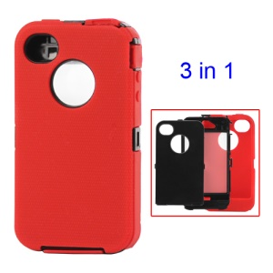 Detachable Defender Case for iPhone 4 4S - Black / Red
