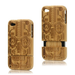 Detachable Carved Egypt Culture Natural Wood Wooden Case Cover for iPhone 4 4S