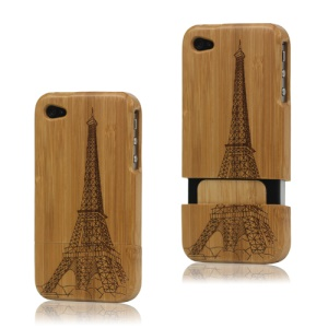 Eiffel Tower Carved Snap-on Natural Wood Wooden Case for iPhone 4 4S