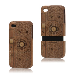 iPhone 4 4S Wooden Case Cover Detachable Retro Camera Carved