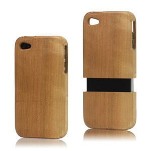 Snap-on Natural Wood Wooden Case Cover for iPhone 4 4S