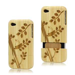 iPhone 4 4S Hard Wooden Case Cover Rabbit Plant Carving Detachable