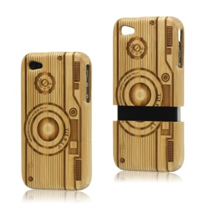 Detachable Vintage Camera Carved Wooden Case Cover for iPhone 4 4S