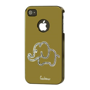 Eileen Elephant Lime Series Rhinestone Electroplating Case Cover for iPhone 4 4S - Gold