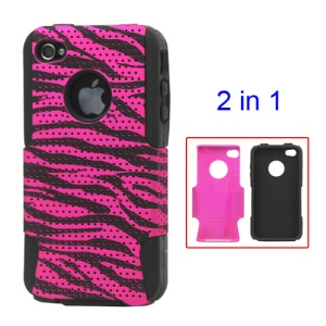 Snap-on Rose Zebra Commuter Case for iPhone 4 4S
