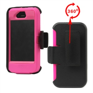 Superior Defender Case Cover for iPhone 4 4S with Belt Clip Holster - Pink
