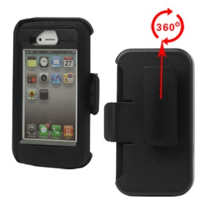 Superior Defender Case Cover for iPhone 4 4S with Belt Clip Holster - Black