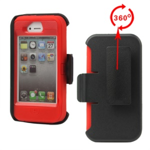 Superior Defender Case Cover for iPhone 4 4S with Belt Clip Holster - Red