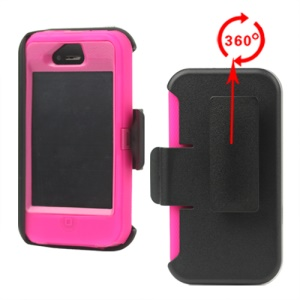 Superior Defender Case Cover for iPhone 4 4S with Belt Clip Holster - Rose