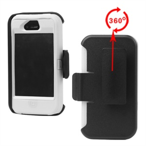 Superior Defender Case Cover for iPhone 4 4S with Belt Clip Holster - White