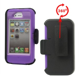 Superior Defender Case Cover for iPhone 4 4S with Belt Clip Holster - Purple