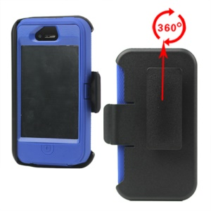 Superior Defender Case Cover for iPhone 4 4S with Belt Clip Holster - Blue