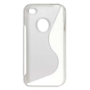 S-Shape PC &amp; TPU Hybrid Case for iPhone 4 4S - White